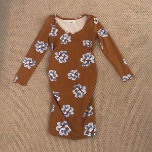 MATERNITY brownish-tan long sleeve flower dress